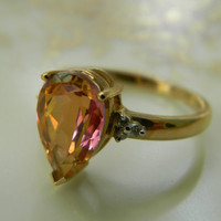 ViNTaGe TOPAZ DIAMOND RiNG BaND EMeRaLD PeaR SHaPe HuGe HoNKeR BLiNG BLiNG  LaRGe 10K GoLD SHaBBY CHiC