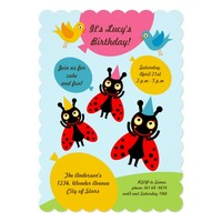 Ladybugs and balloons Birthday Party Invitation