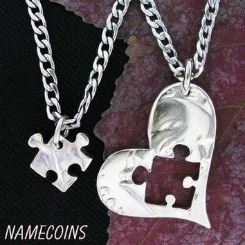 Puzzle Piece Necklace Heart, Half dollar, hand cut coin by Namecoins