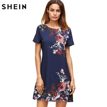SHEIN Summer Dresses Casual Womens Boho Dresses  Royal Blue Aztec Print Short Sleeve Floral Shift Dress