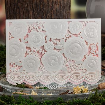 100pcs Wishmade Laser Cut Wedding Invitations Card Hollow Flowers Wedding Cards with Envelope & Seal Party Supply CW5118