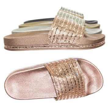 Dazzling02 Shiny Rhinestone Crystal Molded Footbed Slip On Slipper Flat Sandals