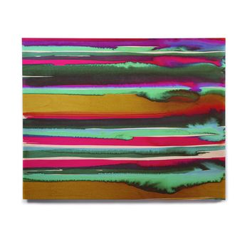 "Miranda Mol ""Multicolor Sunset OchreEmerald"" Gold Green Abstract Stripes Watercolor Painting Birchwood Wall Art"