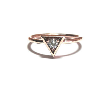 Triangle Ring-Triangle Solitaire Ring-Gold Ring-Diamond Ring-Rose Gold Ring-925K Silver Zirconia Triangle Ring