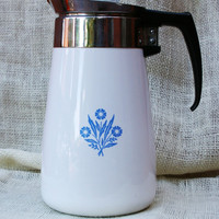 9 cup Corning ware Coffee percolator- Corn flower blue pattern