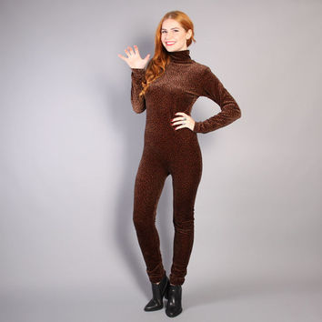 3924a7614a5 90s CHEETAH Print Velvet CATSUIT   Fitted Leopard JUMPSUIT