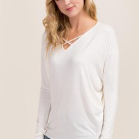 Keelin Long Sleeve X Neck Top
