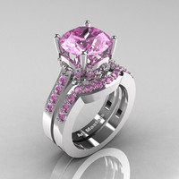 Classic 14K White Gold 3.0 Carat Light Pink Sapphire Solitaire Wedding Ring Set R301S-14KWGLPS