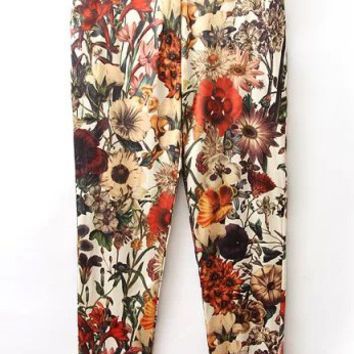 Multi Colored Floral Casual Pants