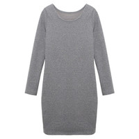 Women Fashion  Long Sleeve Autumn Winter Dress Casual Style 5 Solid Colors = 1667795908