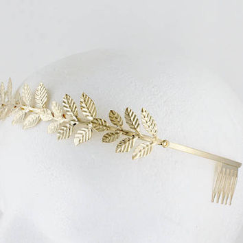 Gold leaf comb headband laurel crown leaves shiny metal thin skinny hair band accessory bridal wedding prom goddess coronas greek toga party