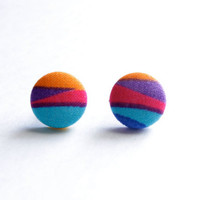 Pink, Purple, Yellow, and Blue Multicolor Print Fabric Covered Button Earrings NICKEL FREE