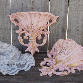 Wall Pocket, Shabby Chic, Pink, Gold, Wall Decor, Ornate, Baroque, Nursery Decor, Wedding Decor, Hand Painted, Vintage, Set, Homco, Upcycled