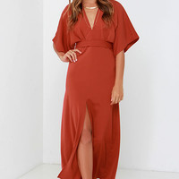 Glamorous Most Valiant Rust Red Maxi Dress