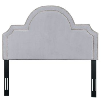 LAYLA QUEEN HEADBOARD IN GREY VELVET