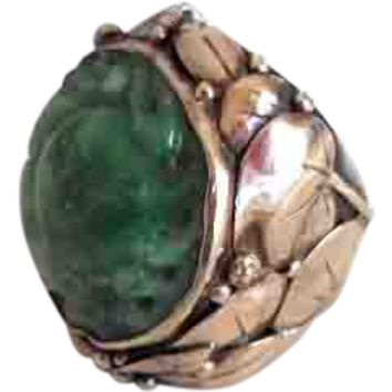 Antique Arts & Crafts Doris Cliff 18k Sterling Carved Jade Ring