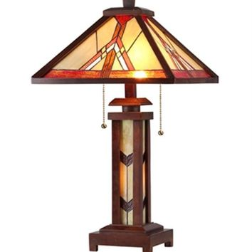 "Anton Tiffany-Style 3 Light Mission Double Lit Wooden Table Lamp 15"" Shade"