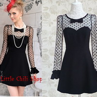 Sweet Party Dolly Queen Slim Dots Lace Sexy Princess onepiece Dress Black S~XL