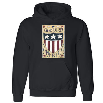 Zexpa Apparel™ God Bless America Unisex Hoodie Patriotic 4th Fourth Of July Hooded Sweatshirt