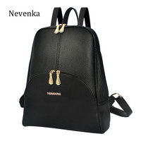Nevenka Brand Women Bag Preppy Backpack Leather Student Zipper Bags Solid Pendants Preppy Sac Casual Backpacks Teenagers Mochila