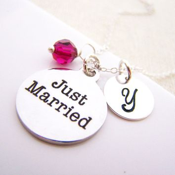 Just Married Charm Swarovski Birthstone Initial Personalized Sterling Silver Necklace / Gift for Her - Wedding Necklace