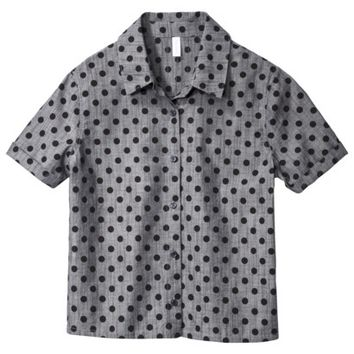 Xhilaration® Junior's Polka Dot Button Down Shirt - Chambray