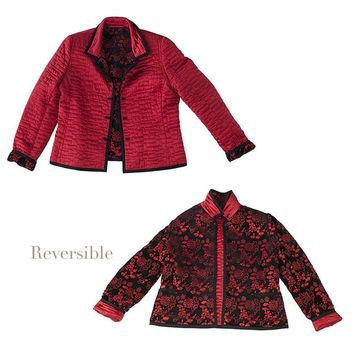 Reversible Silk Jacket, Red & Black Brocade or Quilted Mandarin Style