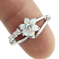 HAIMIS Tiny Cute White Fire Opal Stones Flower Women Opal Rings Size 5 6 7 8 9 10 S11W