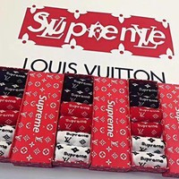 Supreme x Louis Vuitton LV Fashion Unisex Print Socks - Boxed I