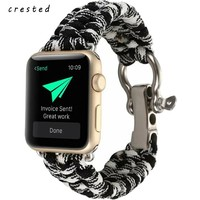 CRESTED nylon band strap for apple watch band 42mm 38mm Survival Rope wrist bracelet strap for apple iwatch series 1 series 2