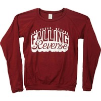 Falling In Reverse  Burgundy Juniors Long Sleeve Junior Top Burgundy