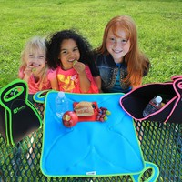Fold Up Placemat Lunchbox for School, Office, Picnic - Insulated Neoprene Machine Washable Hygienic for Boy or Girl Kids School Lunch Box, Adult Lunchbox for Office and Hiking, LARGE Black / Blue