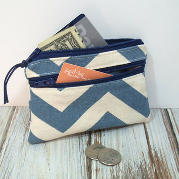 Blue Chevron Change Purse, Zipper Coin Purse, Credit Card Holder