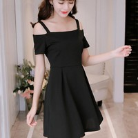 Off Shoulder Dress 2018 Black Punk Gothic Sexy Spaghetti Strap Sleeveless Swing Robe Vintage Rockabilly Dresses Vestidos