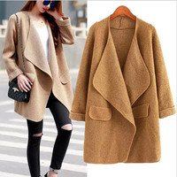 Autumn Women Knit Solid Button Business Casual Suit Outerwear Jacket a12880