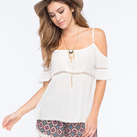 PATRONS OF PEACE Cold Shoulder Womens Top | Blouses & Shirts