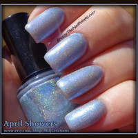 April Showers  ~ Holographic Spectraflair Rainbow Spectrum Soft Blue Hue 3 free Nail Polish by MDJ Creations
