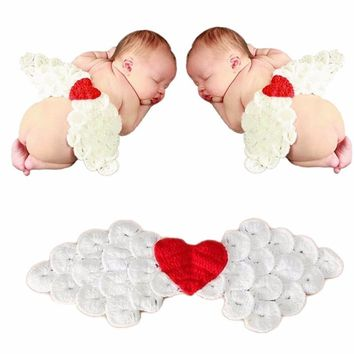 3D Lovely Gift Cosplay Handmade Knitted Heart Decoration Baby Clothes Angel Wings Photography Custume
