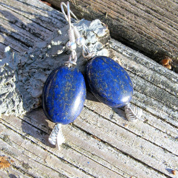 Lapis Lazuli Leaf Earrings