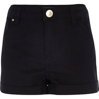 River Island Girls black denim hipster shorts