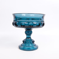Vintage Colonial Blue Compote Indiana Glass Co Thumbprint Pattern Kings Crown Teal Blue Candy Dish