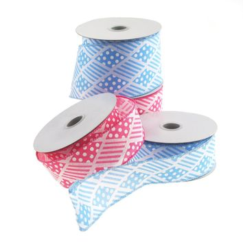 Harlequin Stripes Polka Dots Polyester Ribbon Wired Edge, 10 Yards