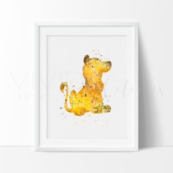 Lion King Simba 2 Watercolor Art Print