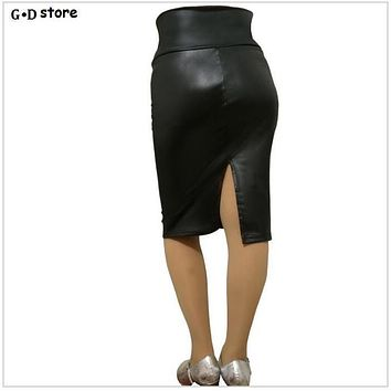 summer style 2017 Brand Design High Waist Black Skirt Women's Autumn Summer Slim Hip Knee Length Plus Size Casual Pencil Skirt