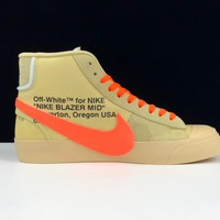 """[ Free  Shipping ]Off-White x Nike Blazer Mid """"All Hallows Eve""""AA3832-700  Basketball Shoes"""