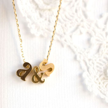 Personalized Tiny Lowercase Initial & Ampersand Necklace Tiny gold personalized Lowercase Letter Necklace birthday gift