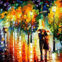 "Rainy Date 2  —  Oil Painting On Canvas By Leonid Afremov. Size: 36""x30"""