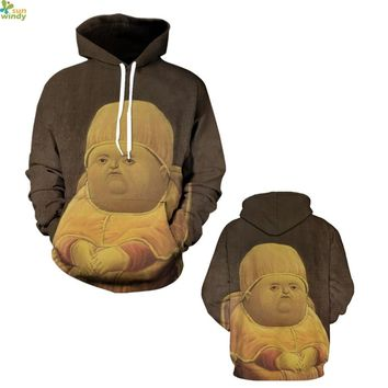 Lovely Fat Boy Baby Print Hoody Jumper Pullover Autumn Yellow Oversize Skateboarding Sweatshirts Brown Womens Sports Suits Coats