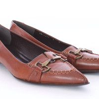 STUART WEITZMAN COGNAC LEATHER FLATS WITH BRASS HARDWARE SIZE 6 US