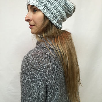 Knit Slouchy Hat Beanie White And Gray Blend Warm And Cozy